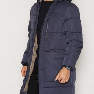 Topman LTD Navy Premium Duck Down Longline Puffer Jacket Takki Mid Blue