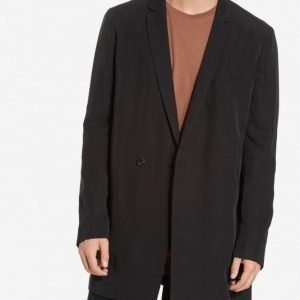 Topman LUX Black Longline Tencel Duster Coat Takki Black