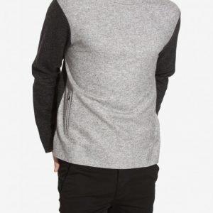 Topman LUX Panelled Melton Sweatshirt Pusero Grey