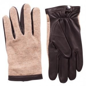 Topman Leather and Knitted Gloves Käsineet Stone