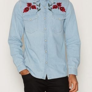 Topman Light Blue Embroidered Casual Shirt Kauluspaita Light Blue