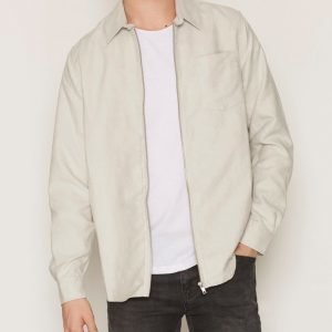 Topman Light Grey Suede Zip Through Overshirt Kauluspaita Light Grey