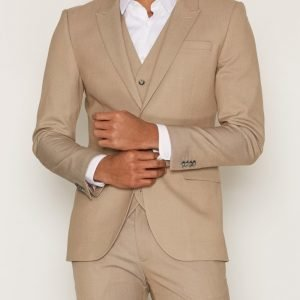 Topman Light Taupe Twill Skinny Fit Suit Jacket Bleiseri Grey