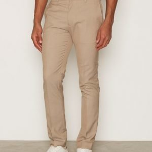 Topman Light Taupe Twill Skinny Fit Suit Trousers Pukuhousut Grey