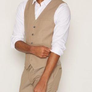Topman Light Taupe Twill Skinny Fit Suit Waistcoat Bleiseri Grey