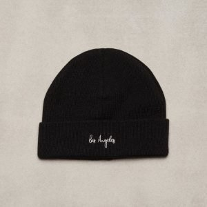 Topman Los Angeles Black Logo Beanie Pipo Black