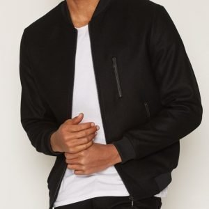Topman Melton Wool Rich Smart Bomber Jacket Takki Black