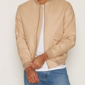 Topman Melton Wool Rich Smart Bomber Jacket Takki Light Brown