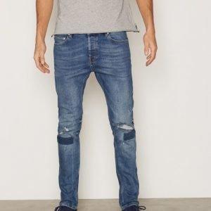 Topman Mid Wash Blue Ripped Stretch Skinny Jeans Farkut Blue
