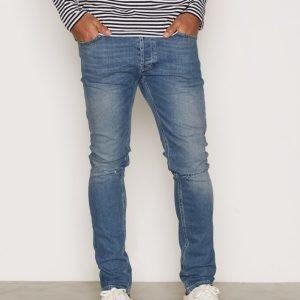 Topman Mid Wash Blue Ripped Stretch Skinny Jeans Farkut Mid Blue