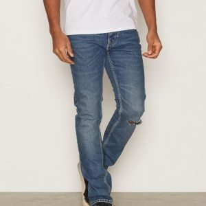 Topman Mid Wash Blue Ripped Stretch Slim Jeans Farkut Dark Blue