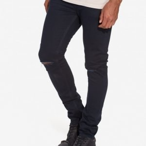 Topman Navy Ripped Stretch Skinny Jeans Farkut Dark Blue