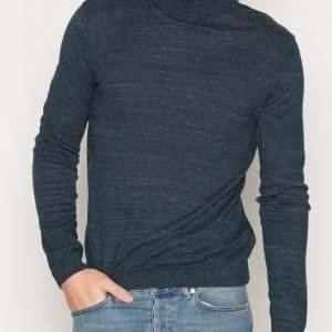 Topman Navy Slub Roll Neck Slim Fit Jumper Pusero Mid Blue