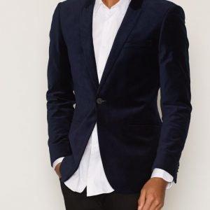 Topman Navy Velvet Skinny Fit Blazer Bleiseri Dark Blue
