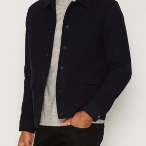 Topman Navy Waffle Textured Coach Jacket Takki Dark Blue