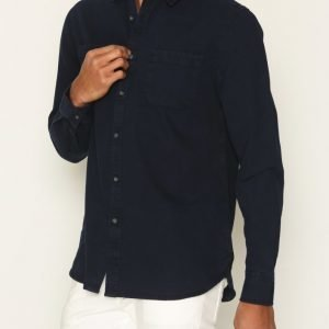 Topman Navy Washed Twill Casual Shirt Kauluspaita Navy Blue