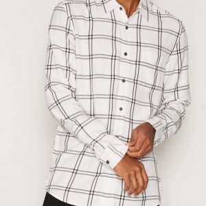 Topman Navy and White Check Viscose Casual Shirt Kauluspaita White