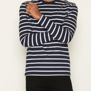 Topman Navy and White Stripe Long Sleeve T-Shirt Pusero Dark Blue