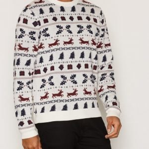Topman Off White Fair Isle Pattern Jumper Pusero Offwhite