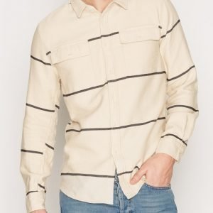 Topman Off White and Black Horizontal Stripe Overshirt Kauluspaita Offwhite