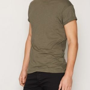 Topman Oil Green Slub T-shirt T-paita Khaki Green