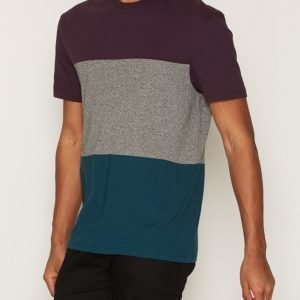 Topman Purple Teal and Grey Panelled T-Shirt T-paita Purple