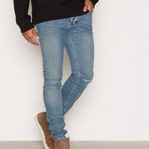 Topman Ripped Stretch Skinny Jeans Farkut Dark Blue
