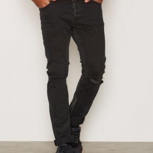 Topman Slim Fit Black Rip Jean Farkut Black