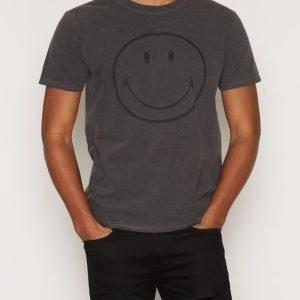 Topman Smiley Black Acid Wash Logo T-Shirt T-paita Black