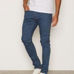 Topman Smokey Blue Wash Stretch Skinny Jeans Farkut Mid Blue
