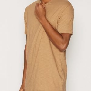 Topman Step Hem Longline T-Shirt T-paita Light Brown