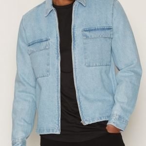 Topman Stone Washed Blue Denim Zip Through Overshirt Takki Stone