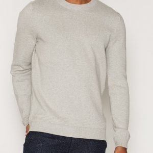 Topman TOPMAN PREMIUM Grey Ribbed Crew Neck Jumper Pusero Light Grey