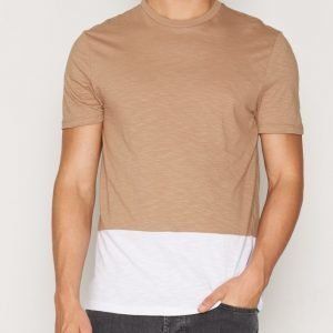 Topman Tan And White Panel T-Shirt T-paita Light Brown