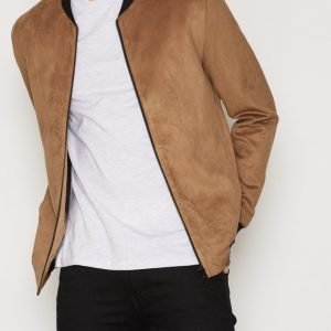 Topman Tan Suede Bomber Jacket Takki Light Brown