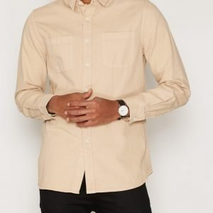 Topman Twill Cotton Casual Shirt Kauluspaita Beige