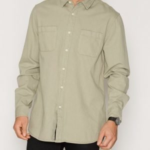 Topman Twill Cotton Shirt Kauluspaita Stone