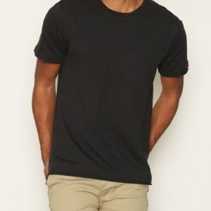 Topman Washed Black Raw Edge T-Shirt T-paita White/Black