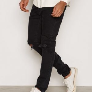 Topman Washed Black Ripped Stretch Skinny Jeans Farkut Black