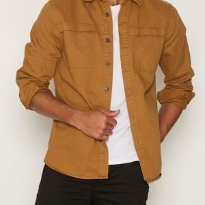 Topman Washed Brown Overlay Pocket Overshirt Kauluspaita Stone