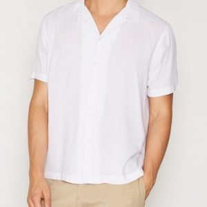 Topman White Revere Collar Short Sleeve Casual Shirt Kauluspaita White