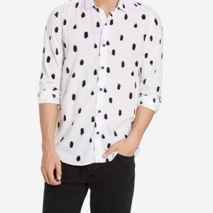 Topman White and Black Print Long Sleeve Casual Shirt Kauluspaita White