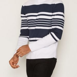 Topman White and Navy Stripe Jumper Pusero White