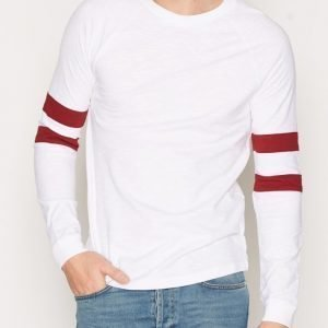 Topman White and Red Long Sleeve Racer Raglan T-Shirt Pusero Punainen/Valkoinen