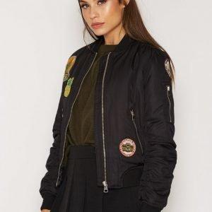 Topshop Badged Jacket Bomber Takki Black