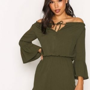 Topshop Bardot Lace Up Playsuit Khaki