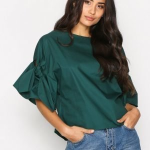 Topshop Bow Sleeve Poplin Top Arkipaita Green