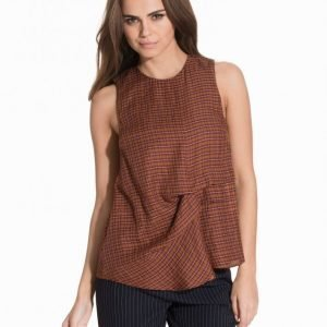 Topshop Checked Sleeveless Hitch Top Toppi Rust