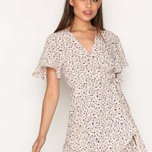 Topshop Daisy Print Ruffle Tea Dress Loose Fit Mekko Light Pink