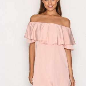 Topshop Dip Hem Bardot Dress Loose Fit Mekko Light Pink
